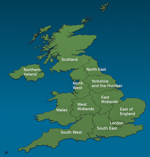 Map Of Uk Showing Regions.Use Our Map To Find Your Ideal Bed For The Night